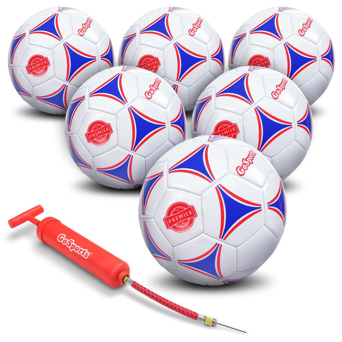 GoSports Premier Soccer Ball with Premium Pump 6 Pack, Size 5
