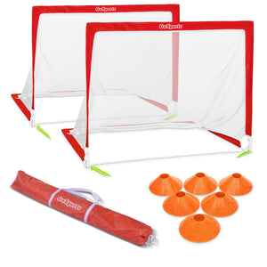 GoSports 6' Size Portable Goal Set - Includes 2 6' Goals, 6 Cones & Carrying Case, Soccer, Regulation Soccer Goal playgosports.com