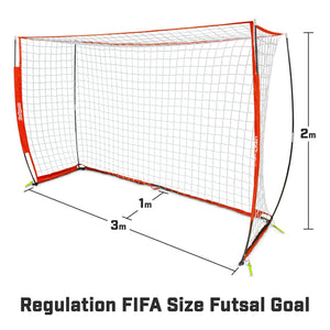 GoSports ELITE Futsal Soccer Goal - 3M x 2M Size, Foldable Bow Frame and Net - Play & Train Like The Pros, Includes Carry Bag and Agility Cones Soccer Goal playgosports.com