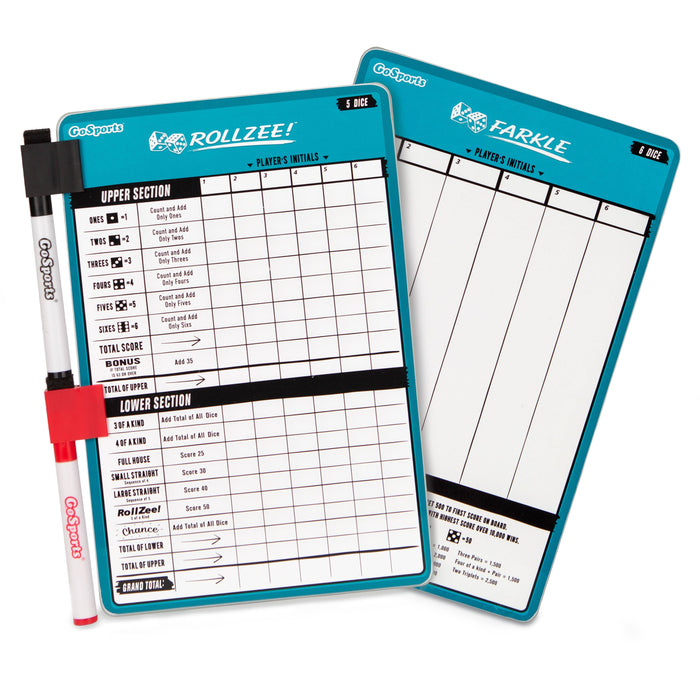 GoSports Dry Erase Rollzee and Farkle Scoreboard | Giant Size with 2 Pens