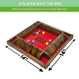 GoSports Shut the Box Premium Wooden Dice Game, Classic 4 Player Family Board Game - 12 Number Rows with Red Felt, Dice and Wood Stain Finish - For Kids and Adults Derby Dash playgosports.com