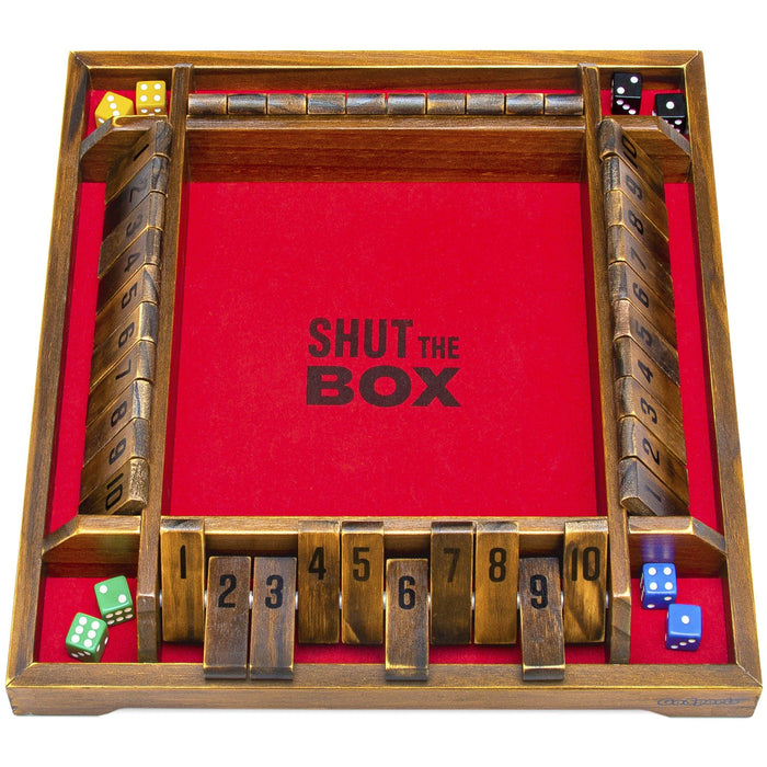 GoSports Shut the Box Premium Wooden Dice Game, Classic 4 Player Family Board Game - 12 Number Rows with Red Felt, Dice and Wood Stain Finish - For Kids and Adults