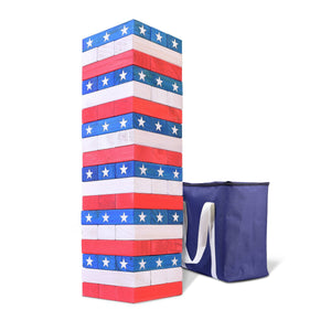 GoSports Giant Stackin' Stars and Stripes (Stacks to 5+ feet) | Made from Premium Pine Blocks Tumbling Tower playgosports.com