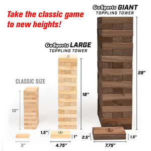 GoSports Giant Wooden Toppling Tower | Includes Bonus Rules with Gameboard | Made from Premium Brown Stained Blocks Tumbling Tower playgosports.com