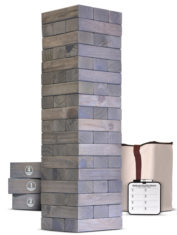 GoSports Giant Wooden Toppling Tower - 5+ Feet - Gray Stain