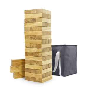 GoSports Giant Wooden Toppling Tower | Made from Premium Tropical Hardwood Toppling Tower playgosports.com