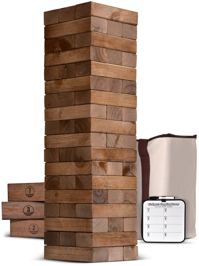 GoSports Giant Wooden Toppling Tower - 5+ Feet - Brown Stain