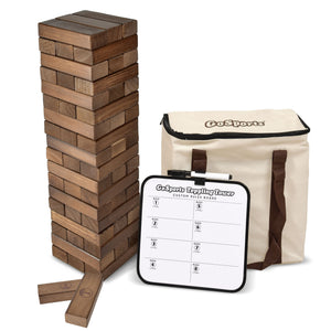 GoSports Large Dark Stain Toppling Tower with Bonus Rules | Starts at 1.5' and grows to over 3' | Made from Premium Brown Stained Blocks Tumbling Tower playgosports.com