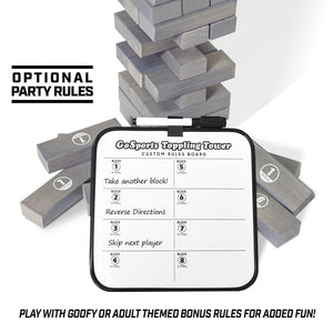 GoSports Large Gray Stain Toppling Tower with Bonus Rules | Starts at 1.5' and grows to over 3' | Made from Premium Gray Stained Blocks Tumbling Tower playgosports.com