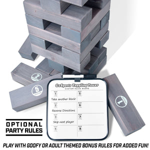 GoSports Giant Wooden Toppling Tower | Includes Bonus Rules with Gameboard | Made from Premium Gray Stained Blocks Tumbling Tower playgosports.com