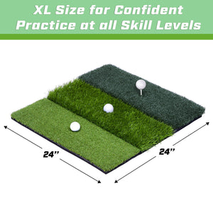"GoSports Tri-Turf XL Golf Practice Hitting Mat | Huge 24"" x 24"" for Optimal Practice Golf playgosports.com"