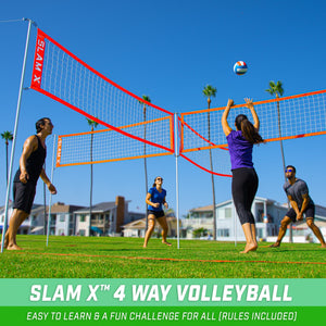 GoSports Slam X 4 Way Volleyball Game Set - Ultimate Backyard & Beach Game for Kids and Adults Slam X playgosports.com