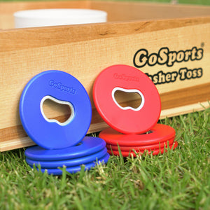 GoSports Bottle Opener Replacement Washer Set - Plastic Coated Metal with Bottle Opener - Set of 8 Washers Washer Toss playgosports.com
