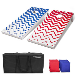 GoSports Red and Blue Chevron Pattern Regulation Size Wooden Cornhole Set - Includes Two 4' x 2' Boards, 8 Bean Bags, Carrying Case and Game Rules Cornhole playgosports.com