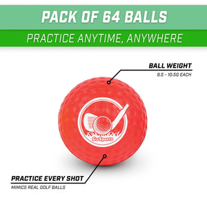 GoSports Foam Golf Practice Balls - 64 Pack | Realistic Feel and Limited Flight | Use Indoors or Outdoors Golf playgosports.com