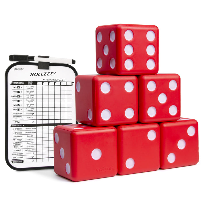 "GoSports Giant 3.5"" Red Foam Playing Dice Set with Bonus Scoreboard (Includes 6 Dice, Dry-Erase Scoreboard and Carrying Case)"