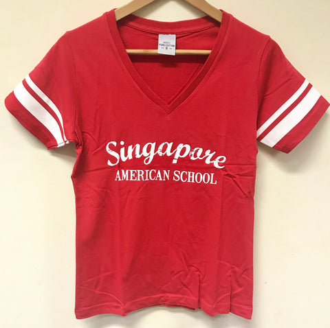 T-Shirt Red Stripe V-Neck