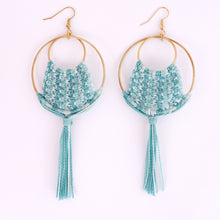 Load image into Gallery viewer, Ava Macrame Earrings in Turquoise