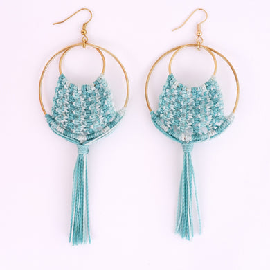 Ava Macrame Tassle Earrings in Turquoise