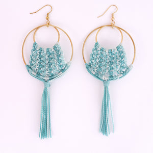 Ava Macrame Earrings in Turquoise