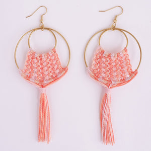 Ava Macrame Earrings in Coral