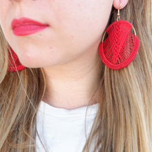 Load image into Gallery viewer, Mika Macrame Earrings in Sangria Red