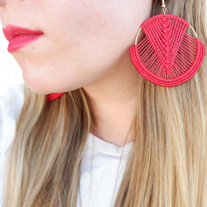 Mika Macrame Earrings in Sangria Red