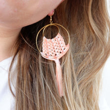 Load image into Gallery viewer, Ava Macrame Earrings in Coral