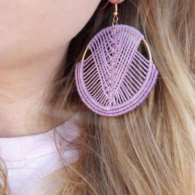 Mika Macrame Earrings in Lilac