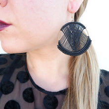 Load image into Gallery viewer, Mika Macrame Earrings in Classic Black