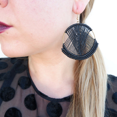 Mika Macrame Earrings in Classic Black
