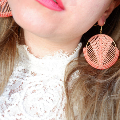 Mika Macrame Earrings in Coral