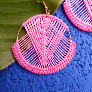 Mika Macrame Earrings in Pink
