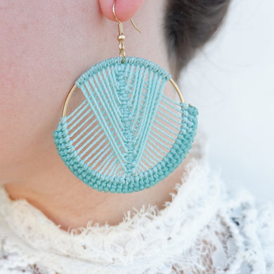 Mika Macrame Earrings in Turquoise