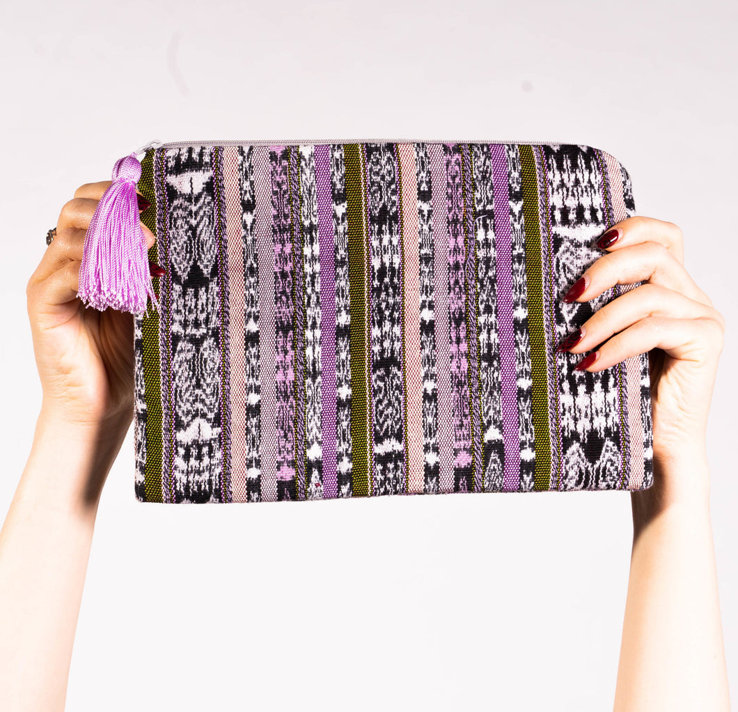 Nova Pouch Bag in Olive & Lilac