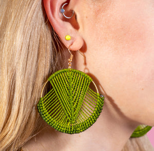 Mika Macrame Earrings in Olive