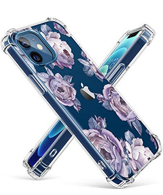 Clear Floral Case iPhone 12 and iPhone 12 Pro 6.1in 2020, Flexible TPU Shockproof