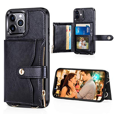 Black Credit Card Holder iPhone Case for 12 or 12 Pro with Crossbody and Wrist Strap Lanyards
