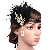 Art Deco Leaf Vine and Pearl Headband with Feather - Hull Hill
