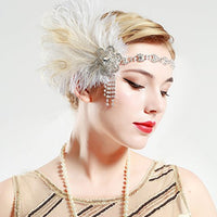 Vintage 1920s Peacock Feather and Crystals Headband - Hull Hill