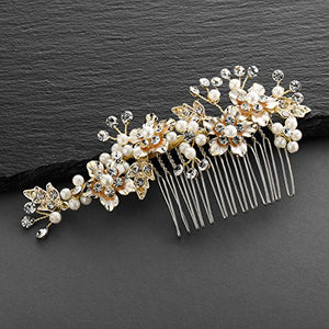 Mariell Handmade Brushed Gold and Ivory Pearl Wedding Comb - Hull Hill