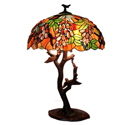 Tiffany-style Grapes- Birds Mosaic Table Lamp