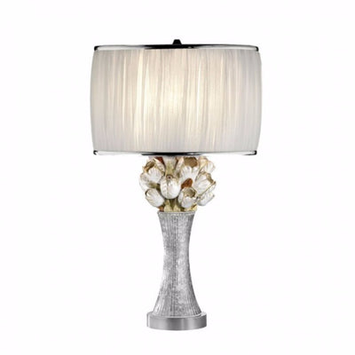 Table Lamp With Glitter Embellishments, White, Silver