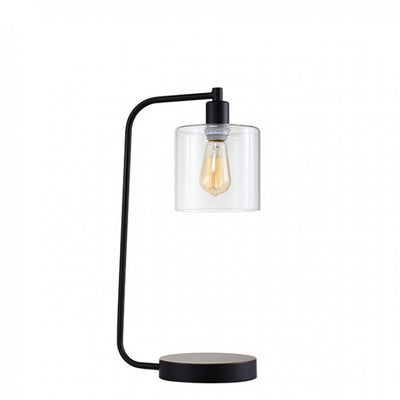 Contemporary Table Lamp Metal With Glass, Black, Includes Light Bulb