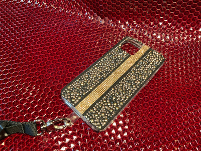 Brass Pebbles with Gold Rhinestones iPhone Silicone Case with Lanyard