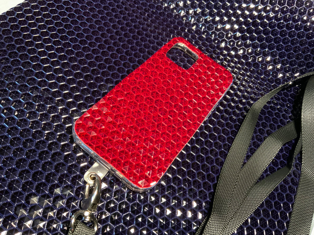 Dark Red Embossed Studded Pyramid iPhone Silicone Case with Lanyard