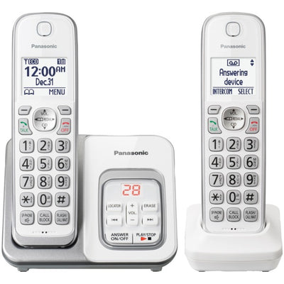 Expandable Cordless Phone with Call Block and Answering Machine (2 Handsets)