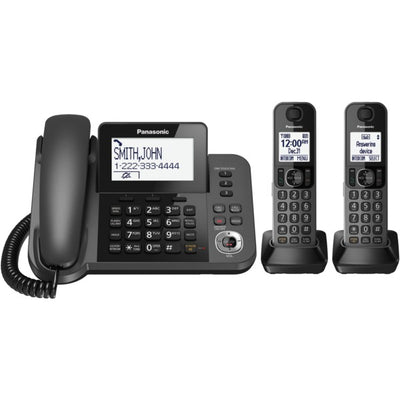 Corded-Cordless Phone and Answering Machine with 2 Cordless Handsets
