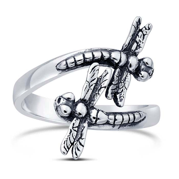 Sterling Silver Dragonflies Bypass Ring