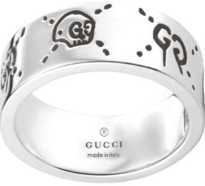 GUCCI JEWELS  BLIND FOR LOVE COLELCTION Mod. GG GOSTH 9mm Size 13 - 20 Anello/Ring ARGENTO/SILVER